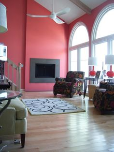 Modern Living Room with Pink Walls by Coastroad Hearth & Patio Room Paint Colors, Paint Colors For Living Room, Grey Room, Pink Room, Hearth And Patio, Color Combinations Home, Indoor Paint, Coral Walls, Modern Patio