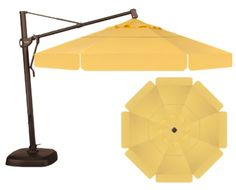 octagon cantilever umbrella customized with a double wind vent and valence. The canopy fabric color is buttercup, the frame is bronze, and we accessorized with a large VEGA umbrella light. Umbrella Lights, Outdoor Umbrella, Colorful Umbrellas, Patio Umbrellas, Outdoor Rooms, Outdoor Decor, Cantilever Umbrella, Canopy, Spa