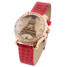 Woman Single Prong Red Wristband Numerals Display Wrist Watch
