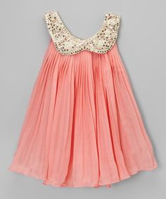 Look at this #zulilyfind! Coral & Gold Sequin Collar Dress - Toddler & Girls by Chicaboo #zulilyfinds