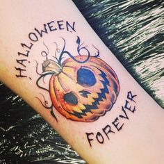 """Halloween Forever"" Jack' O'Lantern. 47 Spooky Tattoos That Will Get You Excited For Halloween"