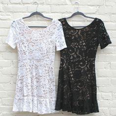 Lace Ruffle Bottom Open Back Dress - White/Nude | H.C.B
