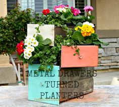 Metal Drawers turned Planters with CeCe Caldwells Vintage White, Kailua Coral and Santa Fe Turquoise REDOUXINTERIORS.COM FACEBOOK: REDOUX