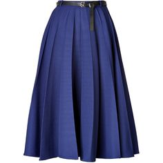 Vionnet Pleated Skirt ($790) ❤ liked on Polyvore featuring skirts, bottoms, gonne, saias, blue, mid-calf skirt, knee length circle skirt, blue circle skirt, circular skirt and midi skirt