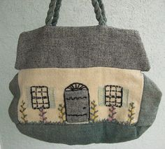Vintage Cottage Craft House Purse in Handwoven Wool