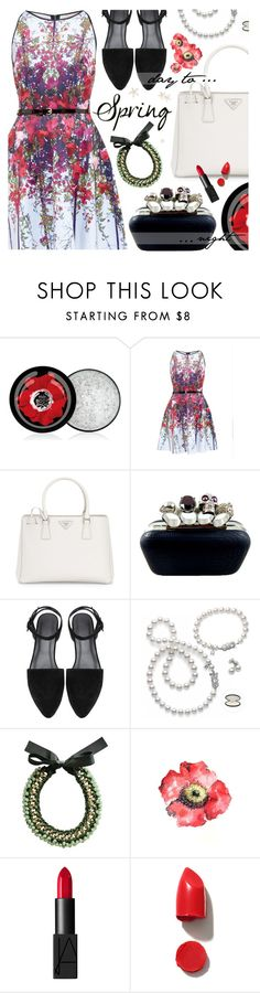 """Spring day to night"" by pastelneon ❤ liked on Polyvore featuring The Body Shop, Ted Baker, Prada, Mikimoto, NARS Cosmetics, Bonheur, DayToNight, daytoevening and spring2016"