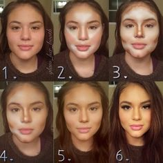 contouring: 1. clean, moisturized face 2. started from nostrils and drew a line upwards past the lash line and extended almost to the hairline, also below the lips and upwards to 'lift' the face. 3. add contouring to areas you want to define or slim down: cheekbones, nose, jawline, and chin...