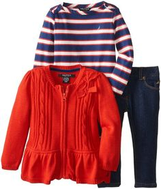 Nautica Baby-Girls Infant 3 Piece Peplum Sweater and Denim Set, Dark Red, 24 Months