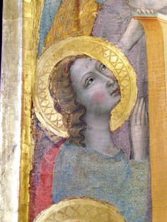 Giovanni Baronzio, detail of an angel  Rimini school, before1363.  Avignon, Petit Palais.