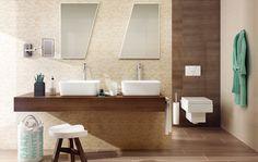 Stonowana aranżacja łazienki. Domus http://www.paradyz.com/plytki/lazienkowe/domus