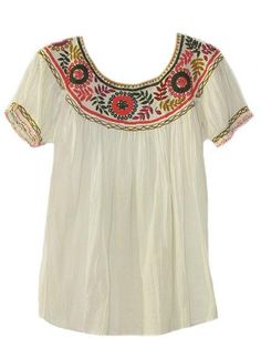 Chiapas Round Neck Embroidered Mexican Blouse