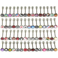 "Lot of 30 Surgical Steel Metal Tongue Rings Barbells Funny Nasty Wordings Picture Logo 14 Gauge or 1.6mm- Length 5/8"" or 16mm - $12.99 - SAVE 83%"