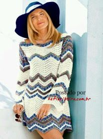 Vestido em Crochê Zig Zag - Katia Ribeiro Crochê Moda e Decoração