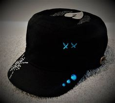 Black Cadet Cap Military Hat w/ Silver Heart, Wings, Rhinestones, Blue Accents & Embroidery
