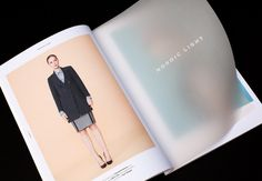 Look book ideas- Transparent pages within the publication with text, an interesting design feature that could be used.