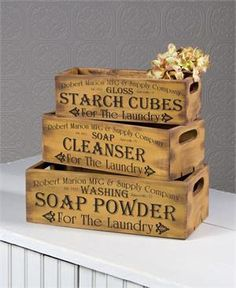 Vintage Inspired Laundry Advertising Crates