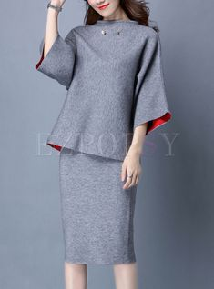Chic Color-blocked Knitted Two-piece Outfits Chic Color-blocked Knitted Two-piece Outfits Office Fashion, Work Fashion, Hijab Fashion, Fashion Dresses, Lolita Fashion, Classy Work Outfits, Modest Outfits, Chic Outfits, Emo Outfits