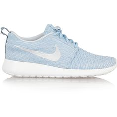 Nike Roshe One Flyknit mesh sneakers ($86) ❤ liked on Polyvore featuring shoes, sneakers, sky blue, mesh shoes, laced shoes, lacing sneakers, mesh sneakers and flyknit shoes