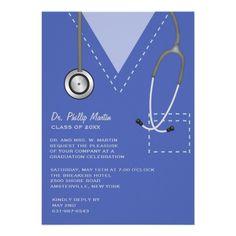 Medical Nursing School Blue Graduation Card | nursing school