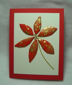 handmade card from Inkerbel's Inklings: Quilted Washi Paper Cards ... flower with red and gold washi paper petals ...