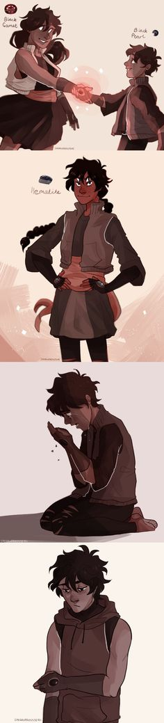 mansi: pjo gem au in which nico and bianca are almost always fused  but one day they have to un-fuse when they're on a mission, and bianca ends up getting killed. And it's so hard for nico to get used to being un-fused that he's terrified of fusing with anyone again :))) | art by cherryandsisters