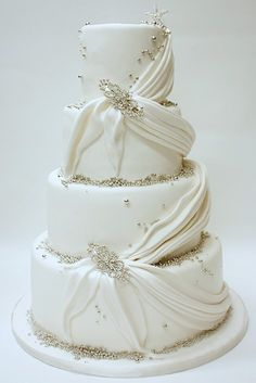 Lulu Scarsdale - Wedding Cakes - fondant. #Whited #Swags #Swagged. @Celebstylewed