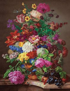 Joseph Nigg  Floral Still Life with Black Grapes  1838