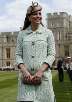 Duchess of Cambridge in Mint Mulberry Coat Dress at Queen's Scouts Parade. April 2013