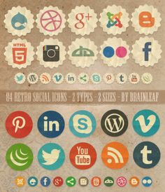 Free social Media Icon Sets - multiples styles to choose from!
