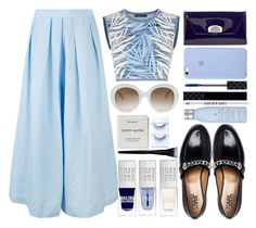"""""""baby blues"""" by juliehalloran ❤ liked on Polyvore featuring Rachel Comey, BCBGMAXAZRIA, Christian Louboutin, Karl Lagerfeld, Gucci, Lord & Berry, Drybar, Yves Saint Laurent and Byredo"""