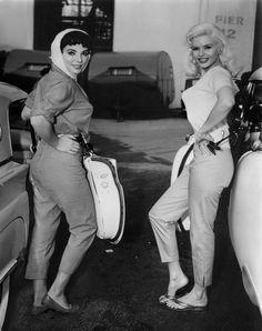 "theniftyfifties: "" Joan Collins and Jayne Mansfield """