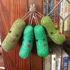 Pickles made by Sarah Day using my free Christmas pickle pattern.