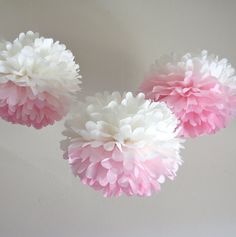 Ombre Pink Paper Pom-Poms 3 Piece by PrettywithSprinkles on Etsy