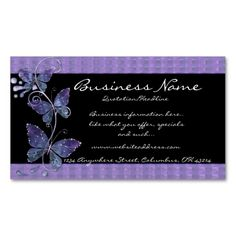 Purple Glass Butterflies Business Cards. I love this design! It is available for customization or ready to buy as is. All you need is to add your business info to this template then place the order. It will ship within 24 hours. Just click the image to make your own!