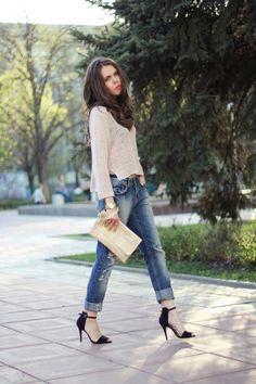 sheer shirt, boyfriend jeans and killer heels