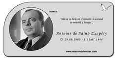 """Antoine de Saint-Exupéry - Escritor y Aviador Francés. Autor de la famosa obra """"El Principito""""."""