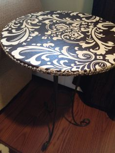 Fabric and Mod Podge covered table
