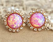 Pink Opal stud earrings with white rhinestones $34