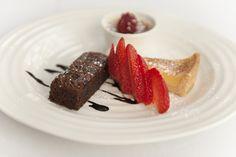 Trio of Desserts - Brownie with Ice Cream & Chocolate Sauce, Tart Au Citron & Crème Brûlée.