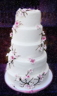 Japanese Wedding Cake with Cherry Blossoms - ImageStack