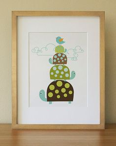 Turtle . Baby Nursery Wall Art .  Children Wall Art