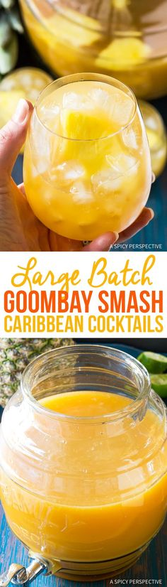 Large-Batch Goombay Smash Caribbean Cocktails, afestive party cocktail recipe that serves a crowd!Made with dark rum, coconut rum, pineapple juice, and lime! Fun Cocktails, Summer Drinks, Fun Drinks, Alcoholic Drinks, Mixed Drinks, Beverages, Beach Drinks, Classic Cocktails, Cocktail Party Food