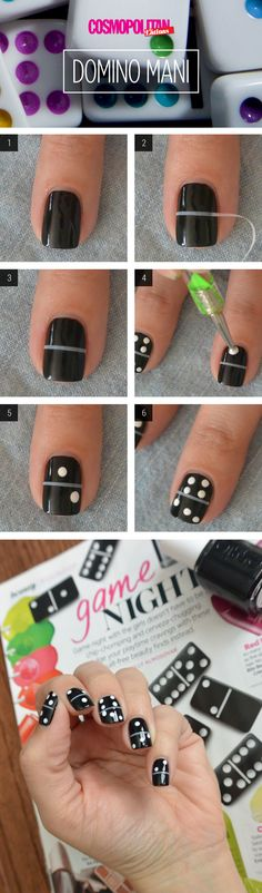 Found on Glossy.io: Nail Art How-To: Fun Domino Manicure via Cosmopolitan