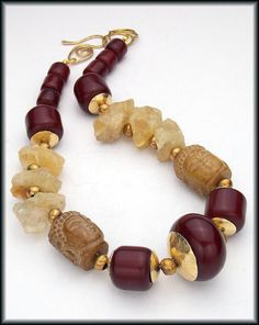 RESERVED for Wendy - CHING LAN - Citrine - Carved Jade - African Amber Exotic Statement Necklace