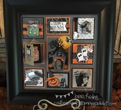 Stampin up Halloween Sampler Halloween Shadow Box, Halloween Frames, Up Halloween, Halloween Projects, Halloween Cards, Halloween Decorations, Halloween Halloween, Vintage Halloween, Box Frame Art