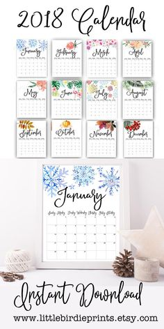 Calendar 2018, Getting Organized, Diy And Crafts, Bullet Journal, Printables, Seasons, Planners, Handmade Gifts, Etsy