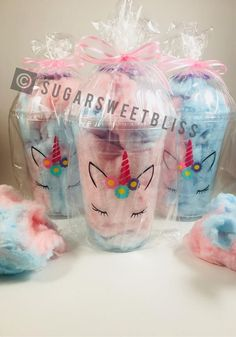 Unicorn Cotton Candy Party Favors Unicorns Fluff Favor Cups with Bags and Ribbon Personalized Custom Cotton Candy Favors, Cotton Candy Party, Blue Cotton Candy, Candy Party Favors, Cotton Candy Wedding, Cotton Candy Cakes, Diy Unicorn Birthday Party, Birthday Cup, Unicorn Birthday Parties