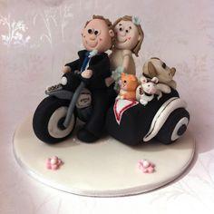 Cake Topper - Bride & Groom Motorbike by Cirencester Cupcakes, via Flickr