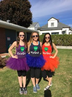 "Vicks inspired DIY group Halloween costume. ZzzQuil, NyQuil & DayQuil! Skirt made with tulle; tank top, with from felt and liquid paint pen to create the ""Vicks"" label, and iron on letters."