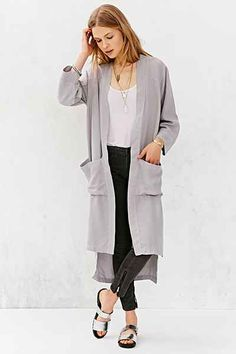 LACAUSA Tencel Mid-Calf Coat
